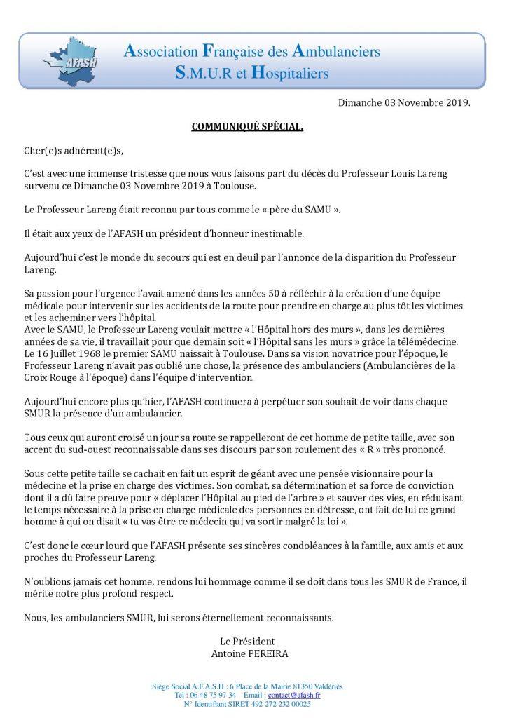 Communiqué – Décès Pr Louis Lareng